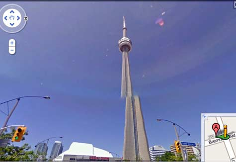 CN tower top offset in Google Streetview