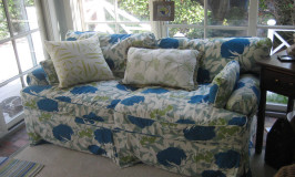 Custom slipcover in Thomas Paul floral fabric